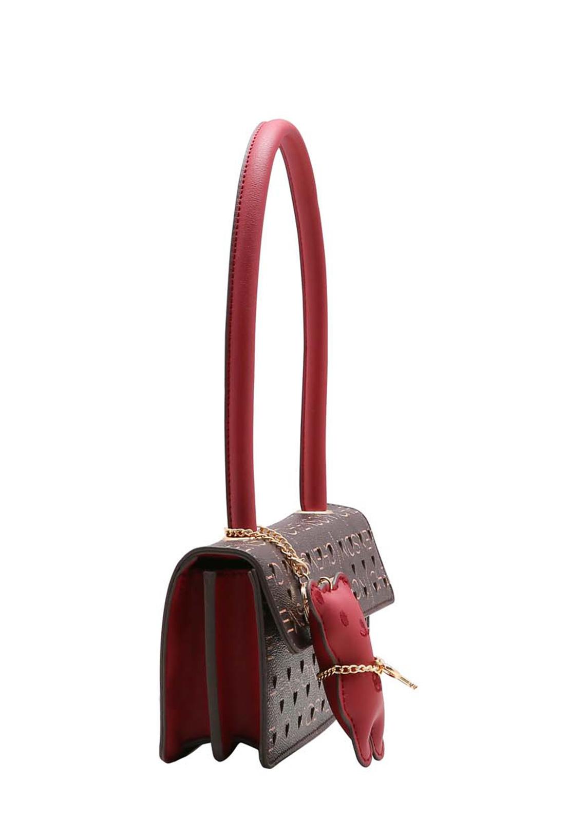 Bolsa Feminina de Mão e Ombro Glamour Manograma Cristal Chenson Marrom