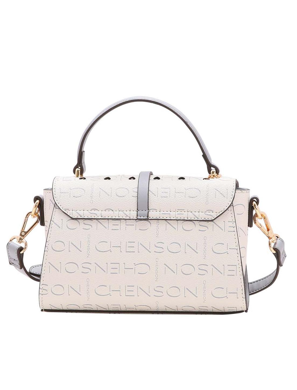 Bolsa Feminina de Mão e Ombro Glamour Manograma Cristal Chenson Off White