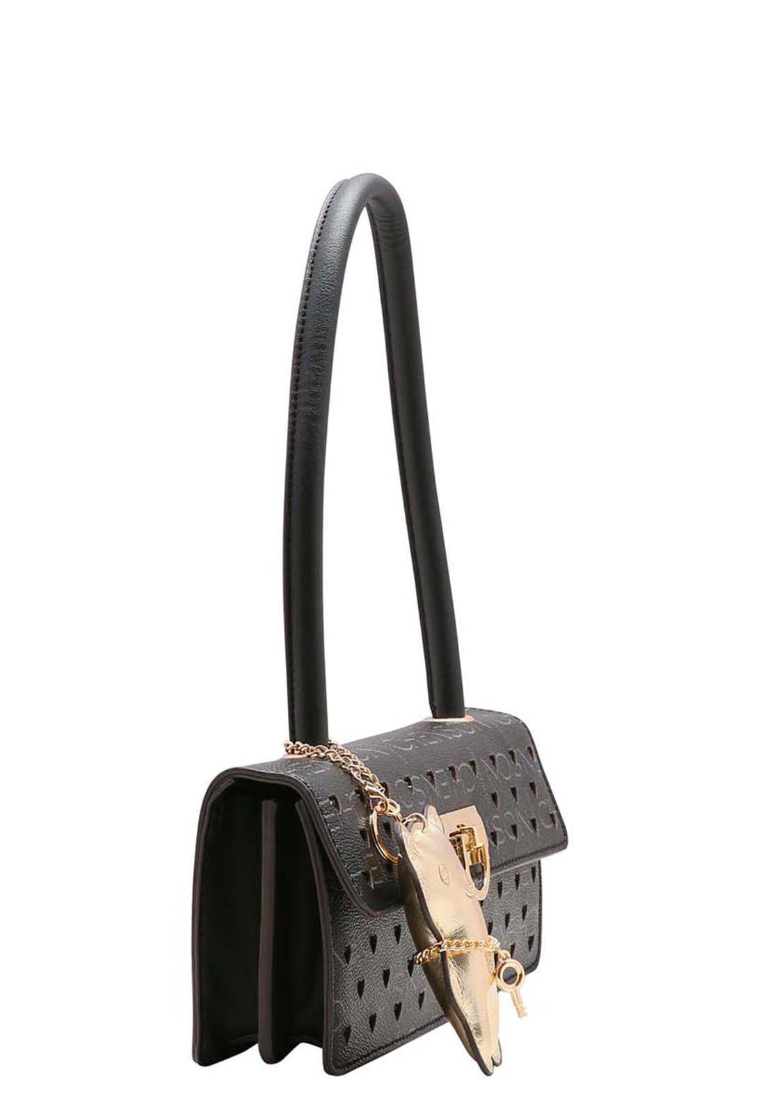 Bolsa Feminina de Mão e Ombro Glamour Manograma Cristal Chenson Preto