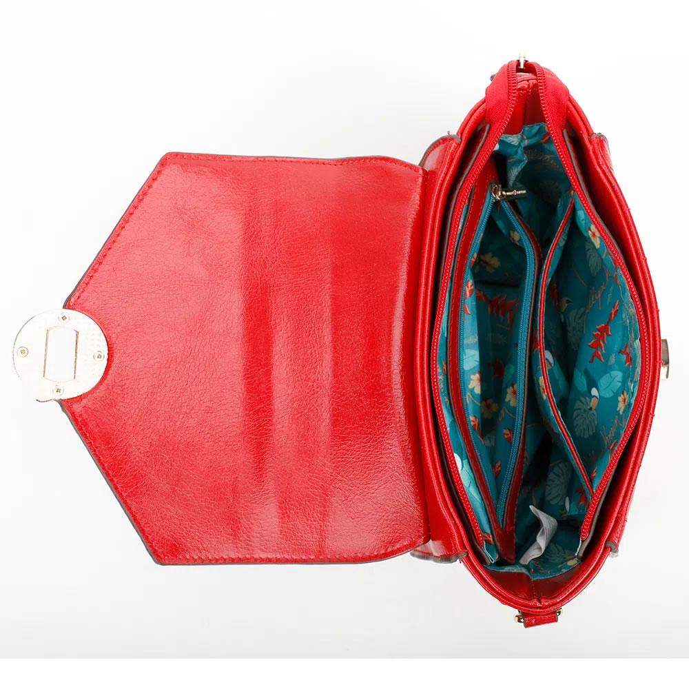 Bolsa Feminina Transversal com Alça de Mão Fellipe Krein Vermelho