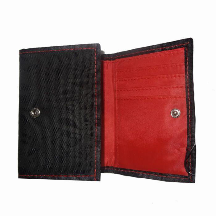 Carteira Masculina em Tecido com Bordado em Relevo Xeryus Preto e Vermelho