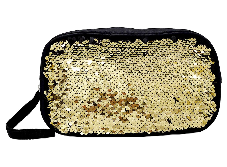 Estojo Escolar Paetê Clio Fashion e Necessaire Feminina Porta Objetos Dourado