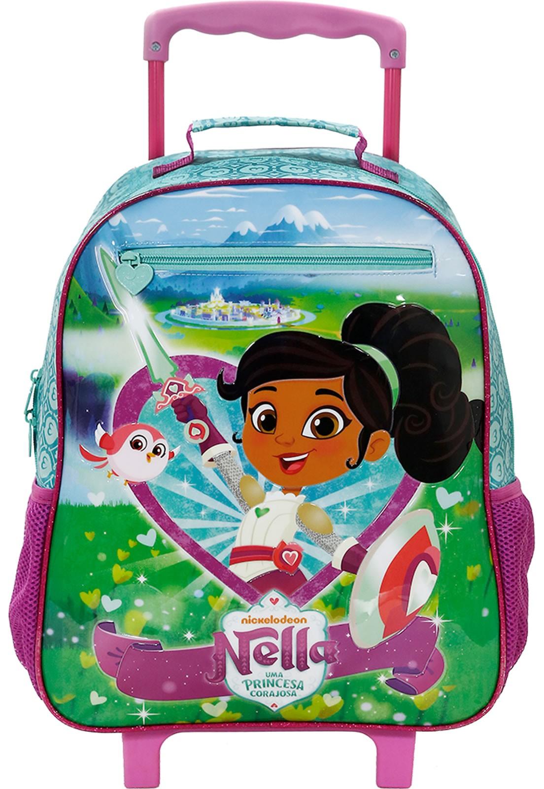 Mochila Escolar Infantil de Rodinhas Princesa Nella Verde