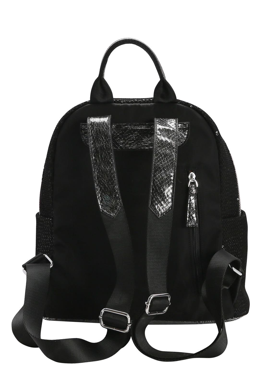 Bolsa Mochila Feminina de Costas Streetwear Brilho Chenson Preta