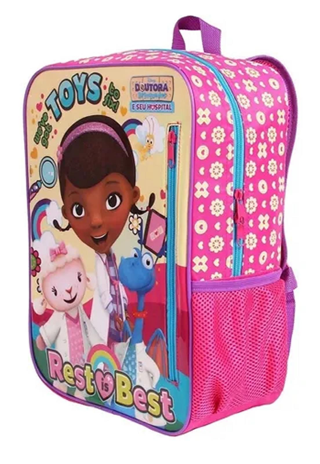 Mochila Escolar de Costas Infantil Dra Brinquedo Rosa