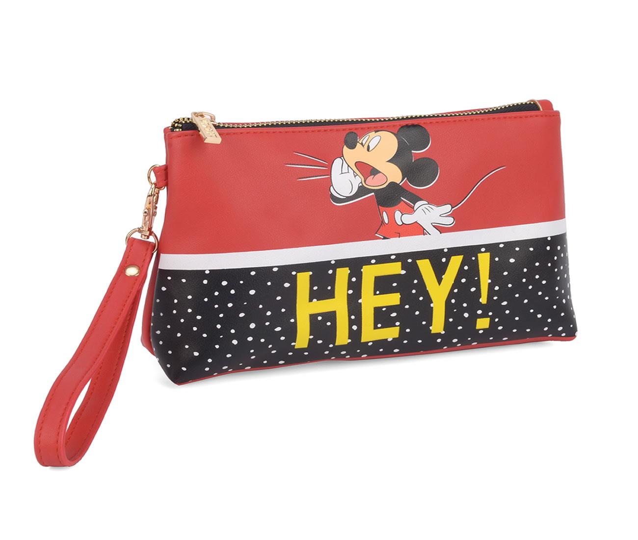 Necessaire Feminina e Porta Objetos c Alça de Pulso Mickey Luxcel Vermelho