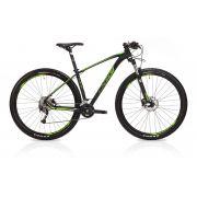 Bicicleta OGGI 7.2 2019 - 18v Shimano Alívio - Freios Shimano Alívio - Suspensão Rock Shox XC30 - Pto/Verde/Branco