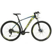 Bicicleta OGGI Big Wheel 7.0 aro 29 2019 - 27V Shimano Altus - Freio hidráulico - Preto/Amar/Azul + BRINDES