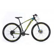 Bicicleta OGGI Big Wheel 7.0 aro 29 2020 - 18V Shimano Altus - Freio Hidráulico - Preto/amarelo/Azul + BRINDES