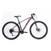 Bicicleta OGGI Big Wheel 7.0 aro 29 2020 - 18V Shimano Altus - Freio Hidráulico - Preto/Rosa + BRINDES
