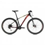 Bicicleta OGGI Big Wheel 7.1 2021 - 18v Shimano Alívio/Deore - Suspensão RockShox - Preto/Dourado/Vermelho