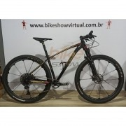 Bicicleta OGGI Big Wheel 7.5 2020 - 12v Sram NX/GX - Rodas Crank Brothers Cobalt 2 Boost - Preto/Dourado/Vermelho