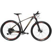 Bicicleta OGGI Big Whell 7.5 aro 29 - 12v SRAM NX com K7 10/50 dentes - Suspensão Manitou Machete Comp Air - PTO/DOURADO/VERM