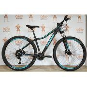 Bicicleta OGGI Float 5.0 2019 - 27V Shimano Altus - Freio hidráulico - Preto/Azul Tiffany + Brindes