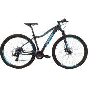 Bicicleta OGGI Float Sport aro 29 - 21v Shimano - Freio a Disco - Preto/Azul Tiffany - Modelo 2019