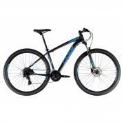 Bicicleta OGGI Hacker HDS 2021 - 24v Shimano Tourney - Freio Shimano Hidráulico - Pto/Azul/Slime + BRINDES