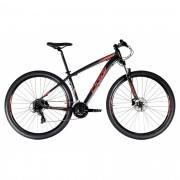 Bicicleta OGGI Hacker HDS 2021 - 24v Shimano Tourney - Freio Shimano Hidráulico - PTO/VERM/AMAR + BRINDES