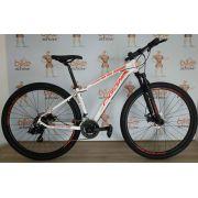 Bicicleta OGGI Hacker Sport 2019 - 21V Shimano - Freio a Disco - Branco/Vermelho + BRINDES