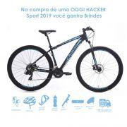 Bicicleta OGGI Hacker Sport 2019 - 21V Shimano - Freio a Disco - Preto/Azul + BRINDES