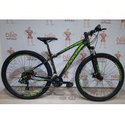 Bicicleta OGGI Hacker Sport - 21V Shimano - Freio a Disco - Preto/Verde + BRINDES