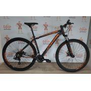 Bicicleta OGGI Hacker Sport- 21V Shimano - Freio a Disco - Preto/Laranja + BRINDES
