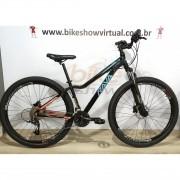 Bicicleta RAVA Nina aro 29 - 27v X-Time - Freio a Disco Hidráulico - Preto/Azul/Vermelho