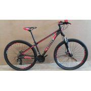 Bicicleta TRINX aro 29 - 24v Shimano Tourney - Freio a Disco Mecânico - Preto/Vermelho/Cinza