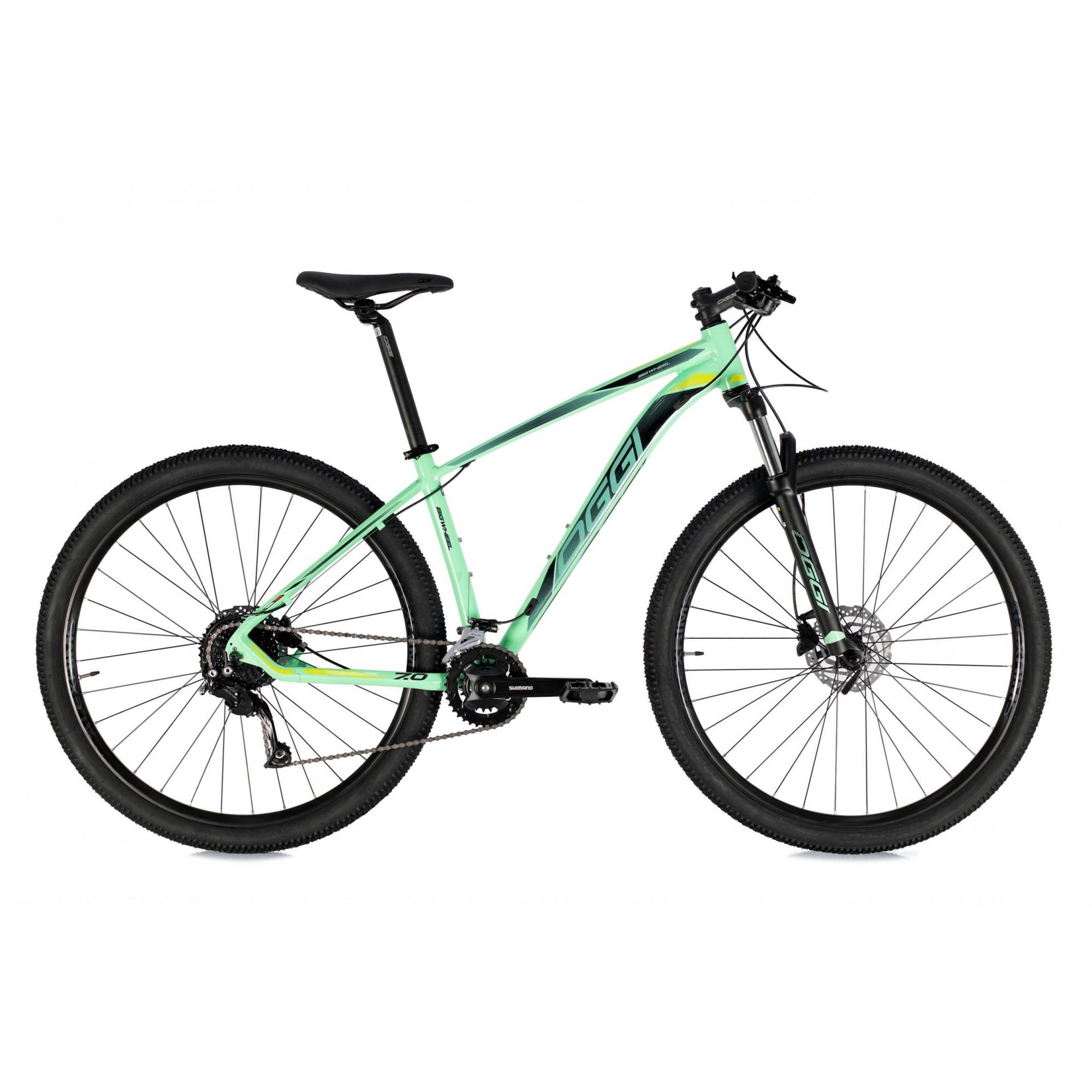 Bicicleta OGGI 7.0 aro 29 2021 - 18V Shimano Alivio - Freio Shimano Hidráulico - Verde/Preto/Slime