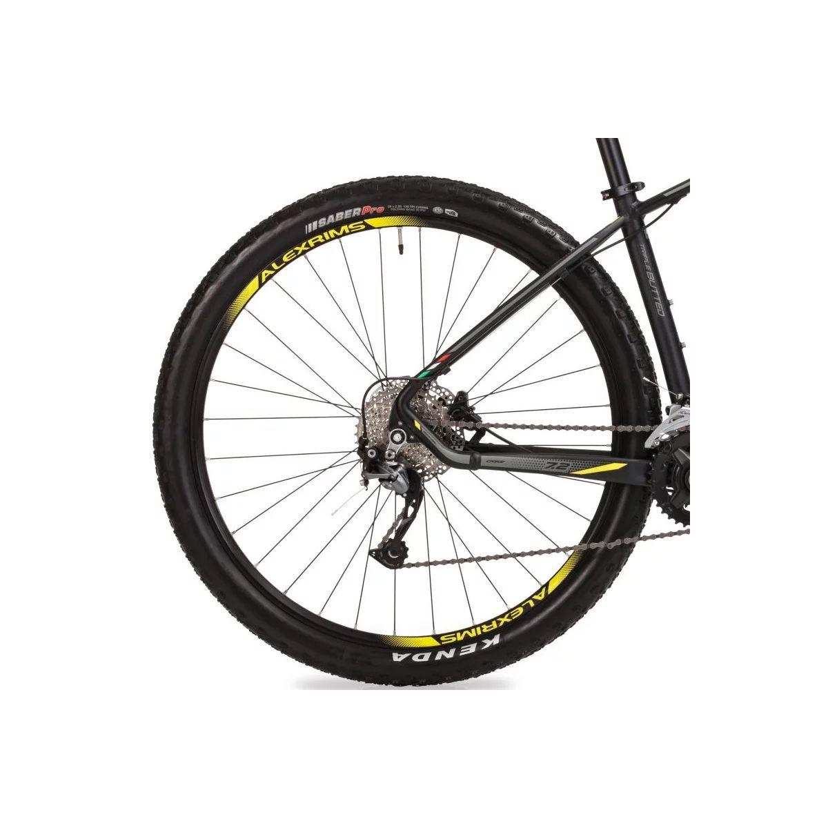 Bicicleta OGGI 7.2 2019 - 18v Shimano Alívio - Freios Shimano Alívio - Suspensão Rock Shox XC30 - Pto/Grafite/Amarelo