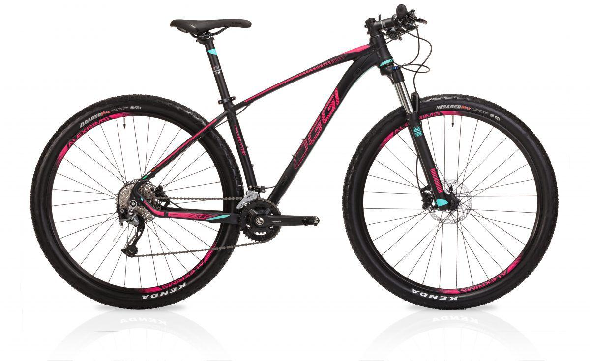 Bicicleta OGGI 7.2 2019 - 18v Shimano Alívio - Freios Shimano Alívio - Suspensão Rock Shox XC30 - Pto/Pink/Verde Blue
