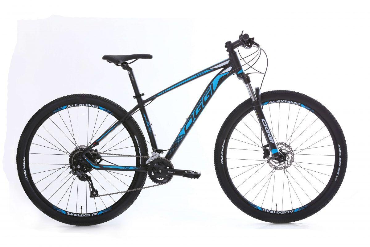 Bicicleta OGGI Big Wheel 7.0 aro 29 2020 - 18V Shimano Altus - Freio Hidráulico - Preto/Azul + BRINDES