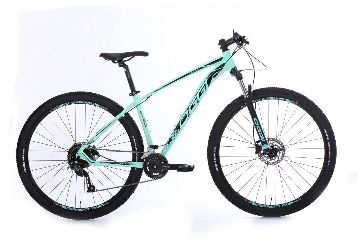 Bicicleta OGGI Big Wheel 7.0 aro 29 2020 - 18V Shimano Altus - Freio Hidráulico - Verde Blue/Preto + BRINDES