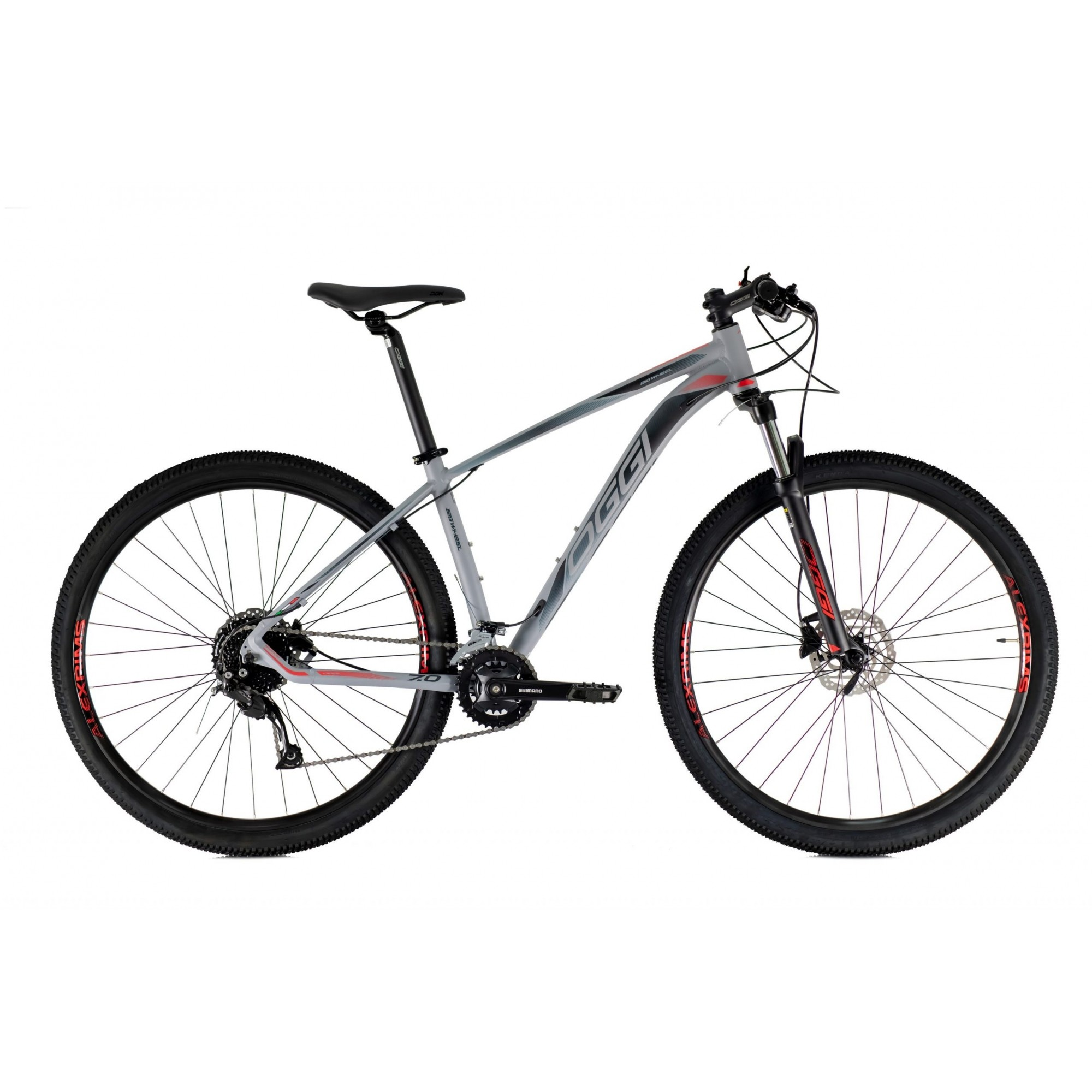 Bicicleta OGGI 7.0 aro 29 2021 - 18V Shimano Alivio - Freio Shimano Hidráulico - Cinza/Vermelho
