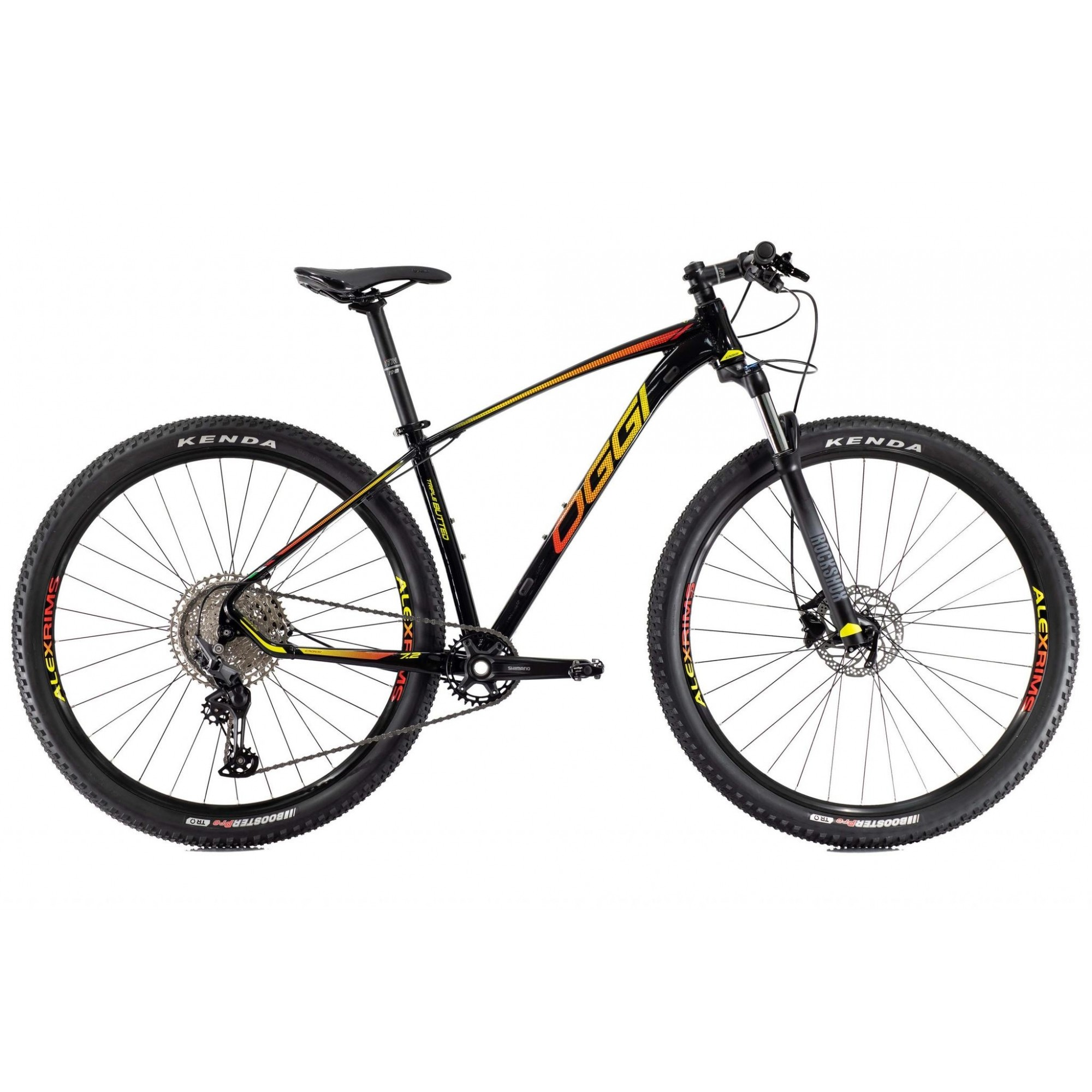 Bicicleta OGGI Big Wheel 7.2 2021 - 11v Shimano Deore - Freio Shimano Hidráulico - Preto/Amarelo/Vermelho
