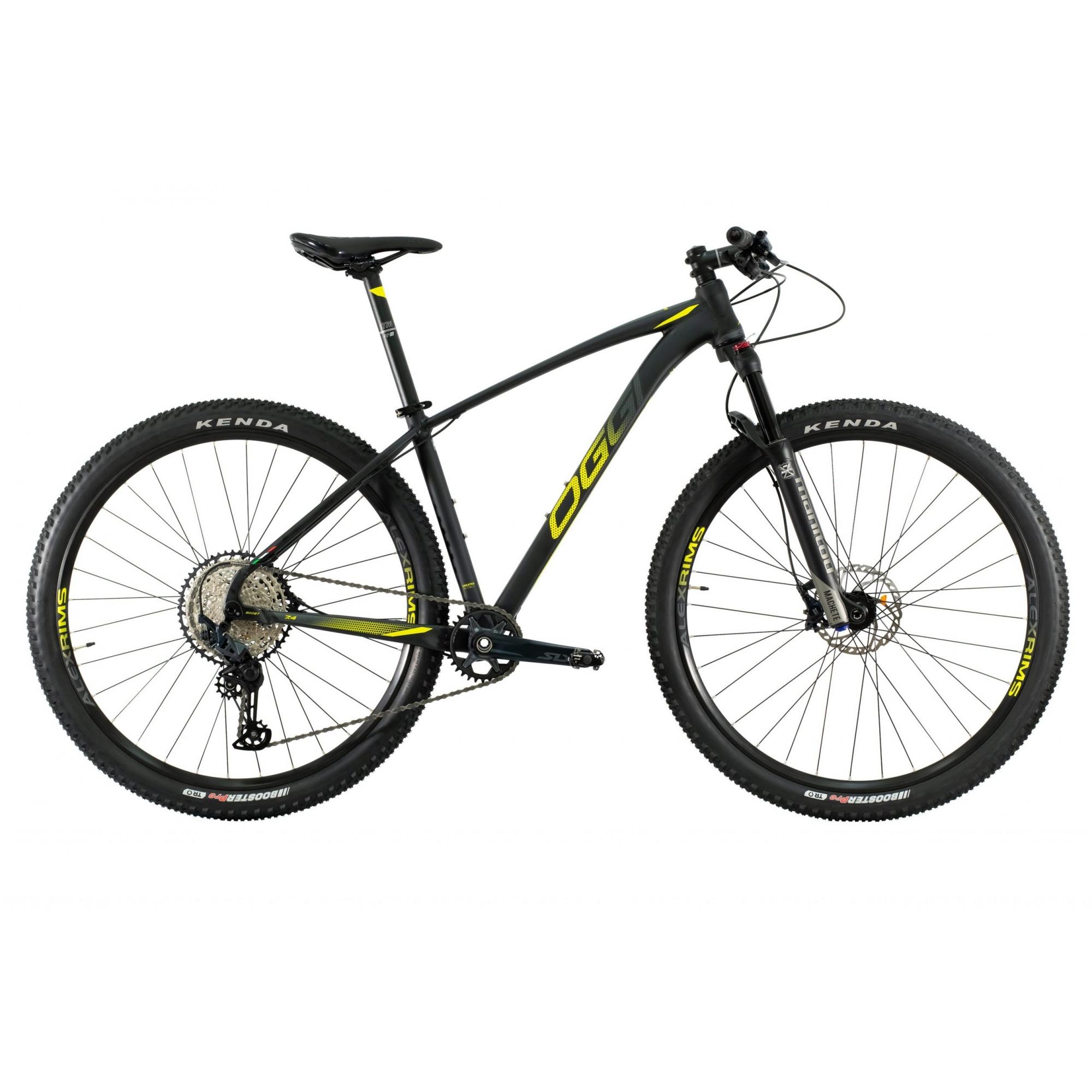 Bicicleta OGGI Big Wheel 7.4 2021 - 12v Shimano SLX - K7 10/51 dentes - Suspensão Manitou Machete a AR - Preto/Grafite/Amarelo