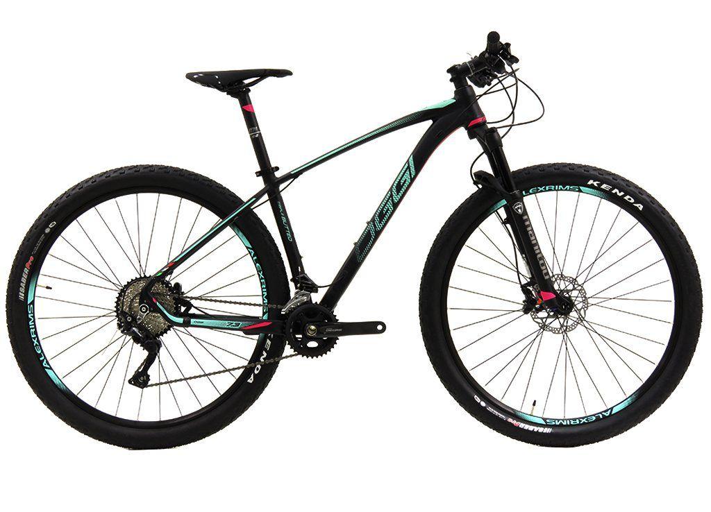 Bicicleta OGGI Big Whell 7.3 aro 29 2019 -  20V Shimano Deore M6000 - Suspensão Manitou Markhor - Preto/Verde Blue/Pink + BRINDES