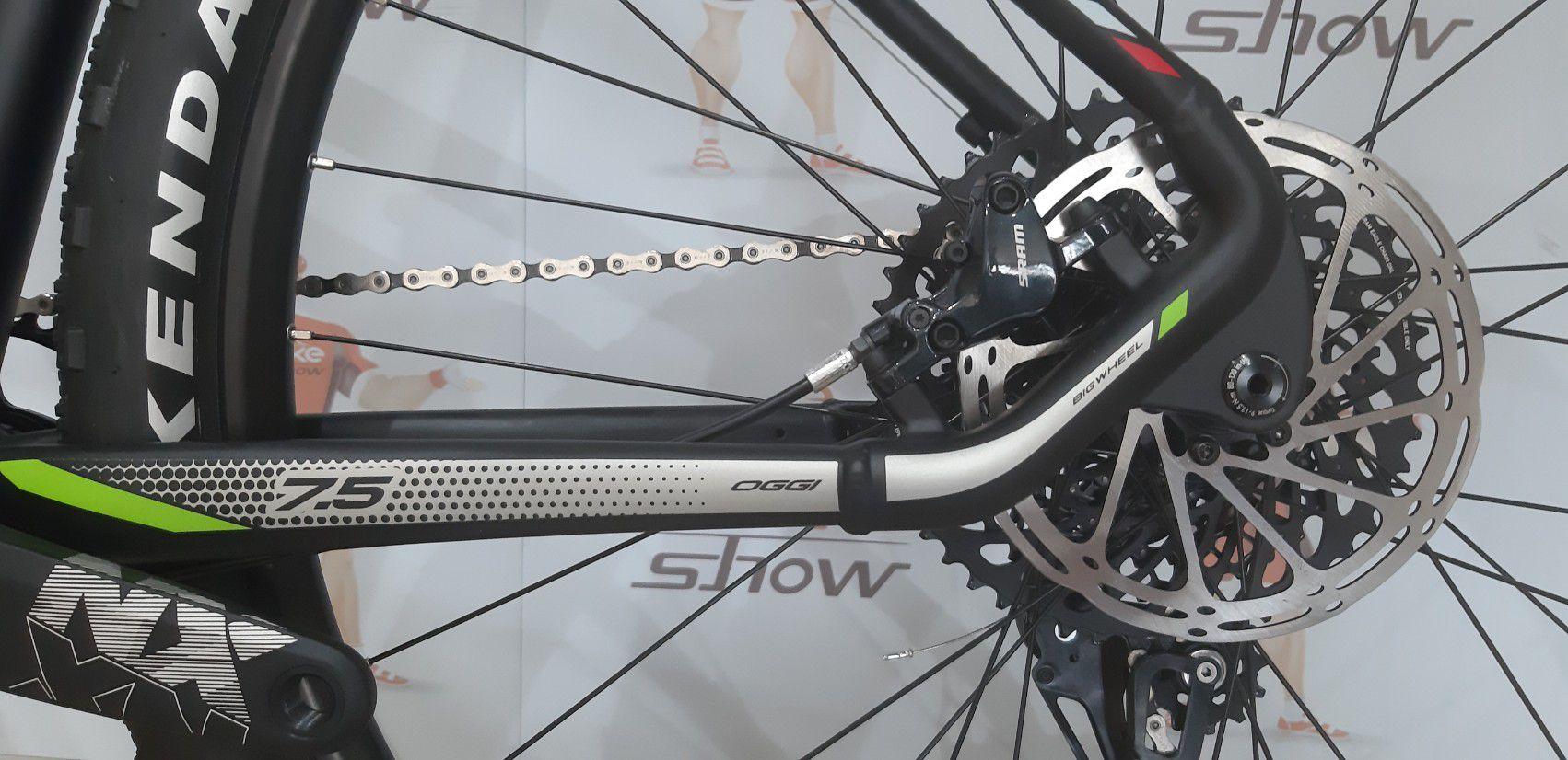 Bicicleta OGGI Big Whell 7.5 aro 29 - 12v SRAM NX com K7 10/50 dentes - Suspensão Manitou Machete Comp Air - PTO/PTA/VD