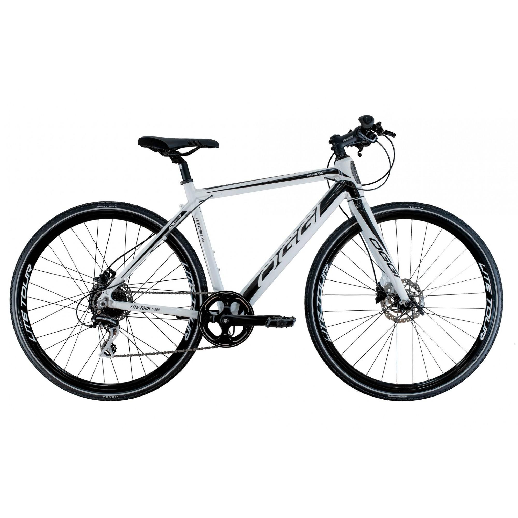 Bicicleta OGGI E-Bike Lite Tour E-500 2020 - 8v Shimano Acera - Branco/Preto