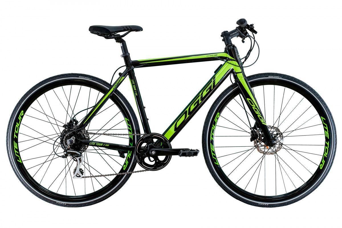 Bicicleta OGGI E-Bike Lite Tour E-500 2020 - 8v Shimano Acera - Preto/Verde