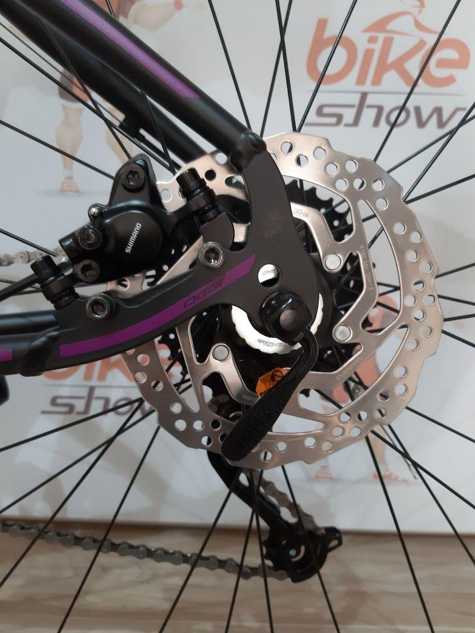 Bicicleta OGGI Float 5.0 - 27V Shimano Altus - Freio hidráulico - Preto/Uva