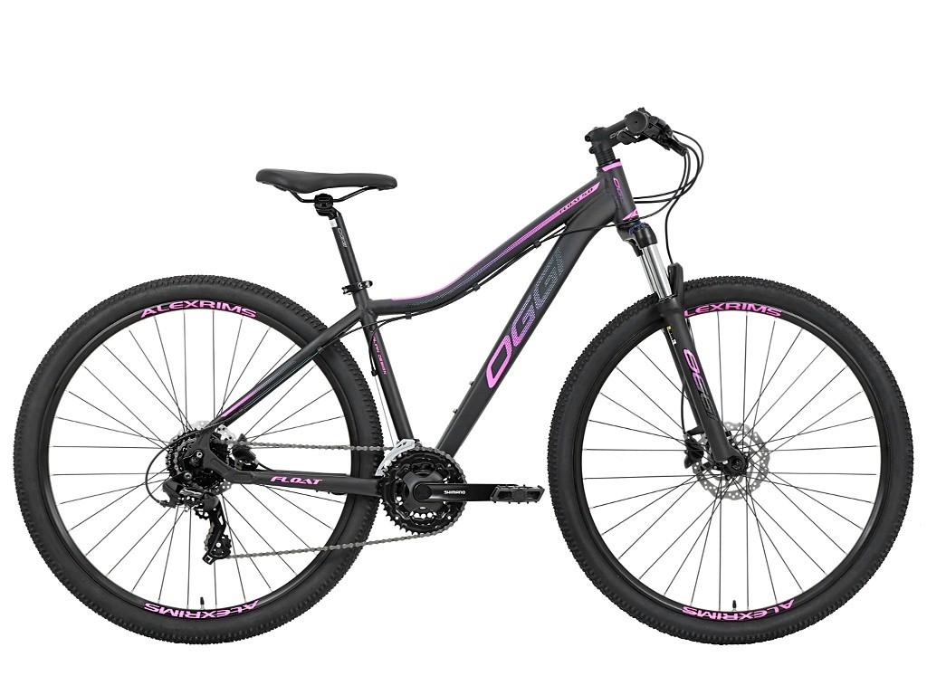 Bicicleta OGGI Float 5.0 HDS 2021 - 24v Shimano Tourney - Freio Shimano Hidráulico - Preto/Pink