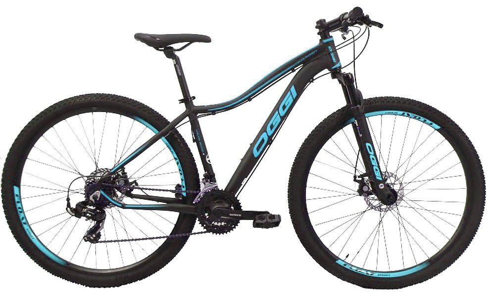 Bicicleta OGGI Float Sport aro 29 - 21v Shimano - Freio a Disco - Preto/Azul Tiffany - Modelo 2019 + Brindes