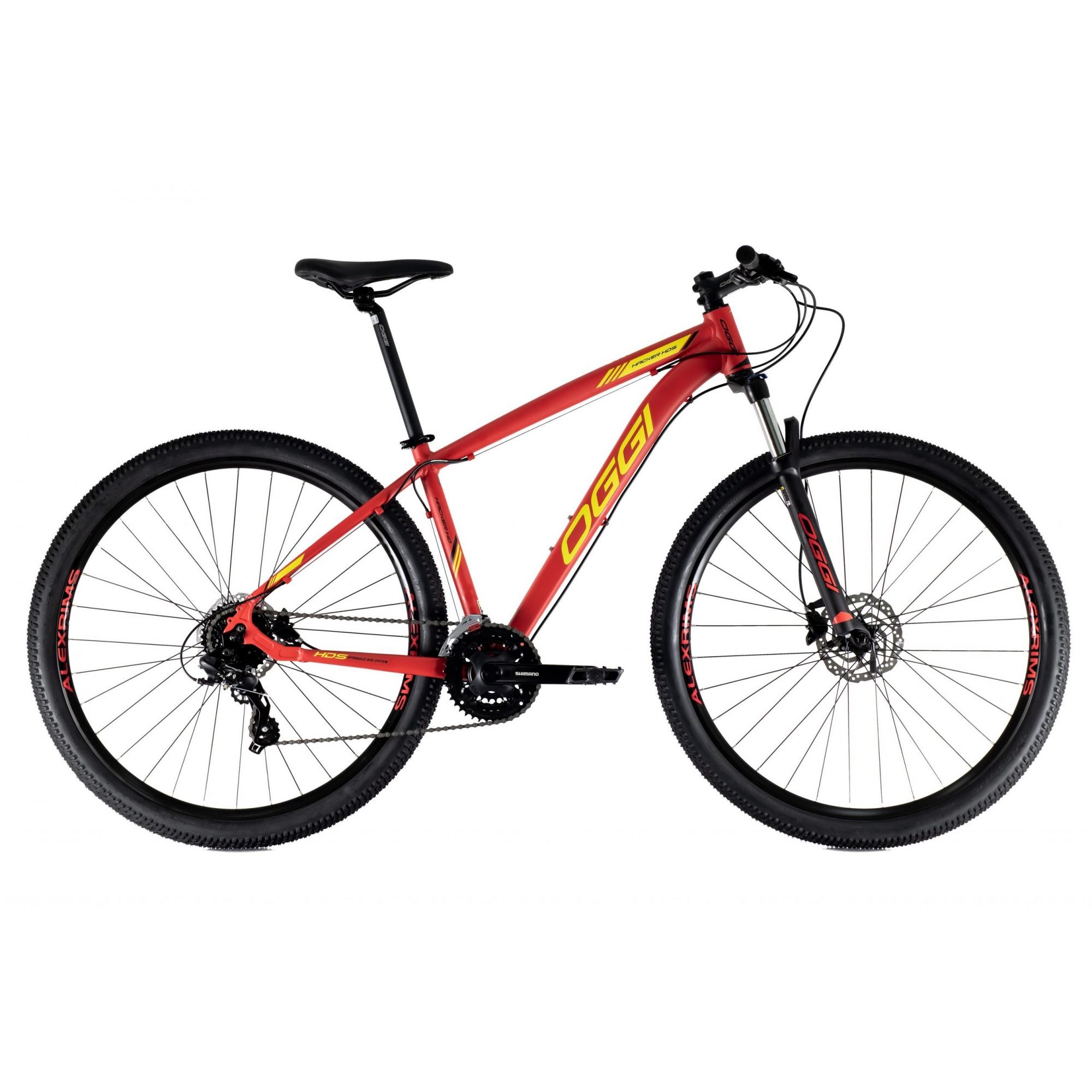 Bicicleta OGGI Hacker HDS 2021 - 24v Shimano Tourney - Freio Shimano Hidráulico - Vermelho/Amarelo + BRINDES