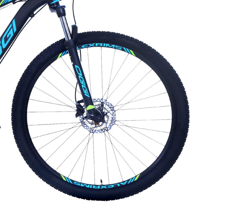Bicicleta OGGI Hacker HDS - 24v Shimano Tourney - Freio Shimano Hidráulico - PTO/AZUL