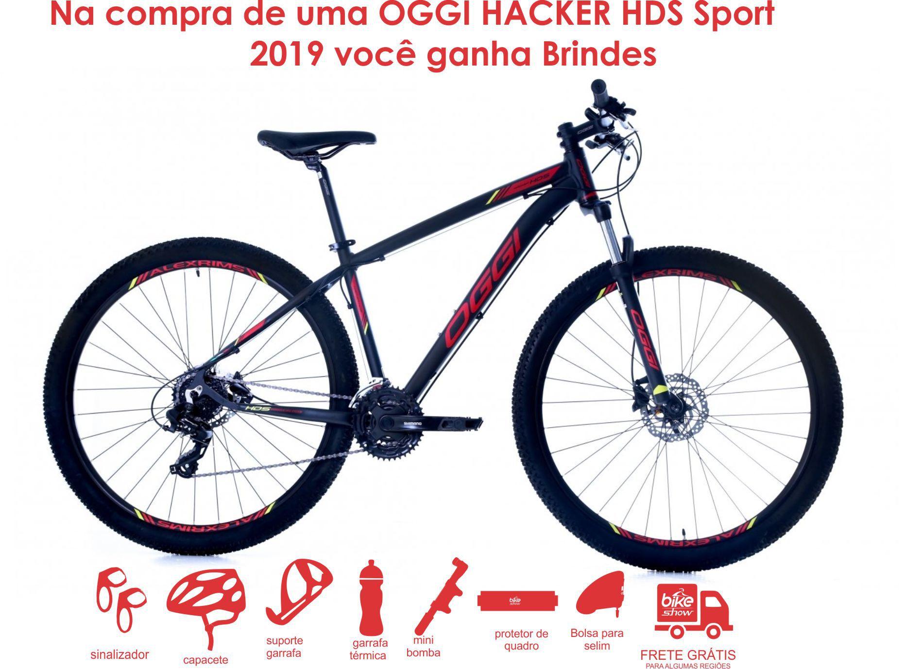 Bicicleta OGGI Hacker HDS - 24v Shimano Tourney - Freio Shimano Hidráulico - PTO/VERM./AMAR + Brindes