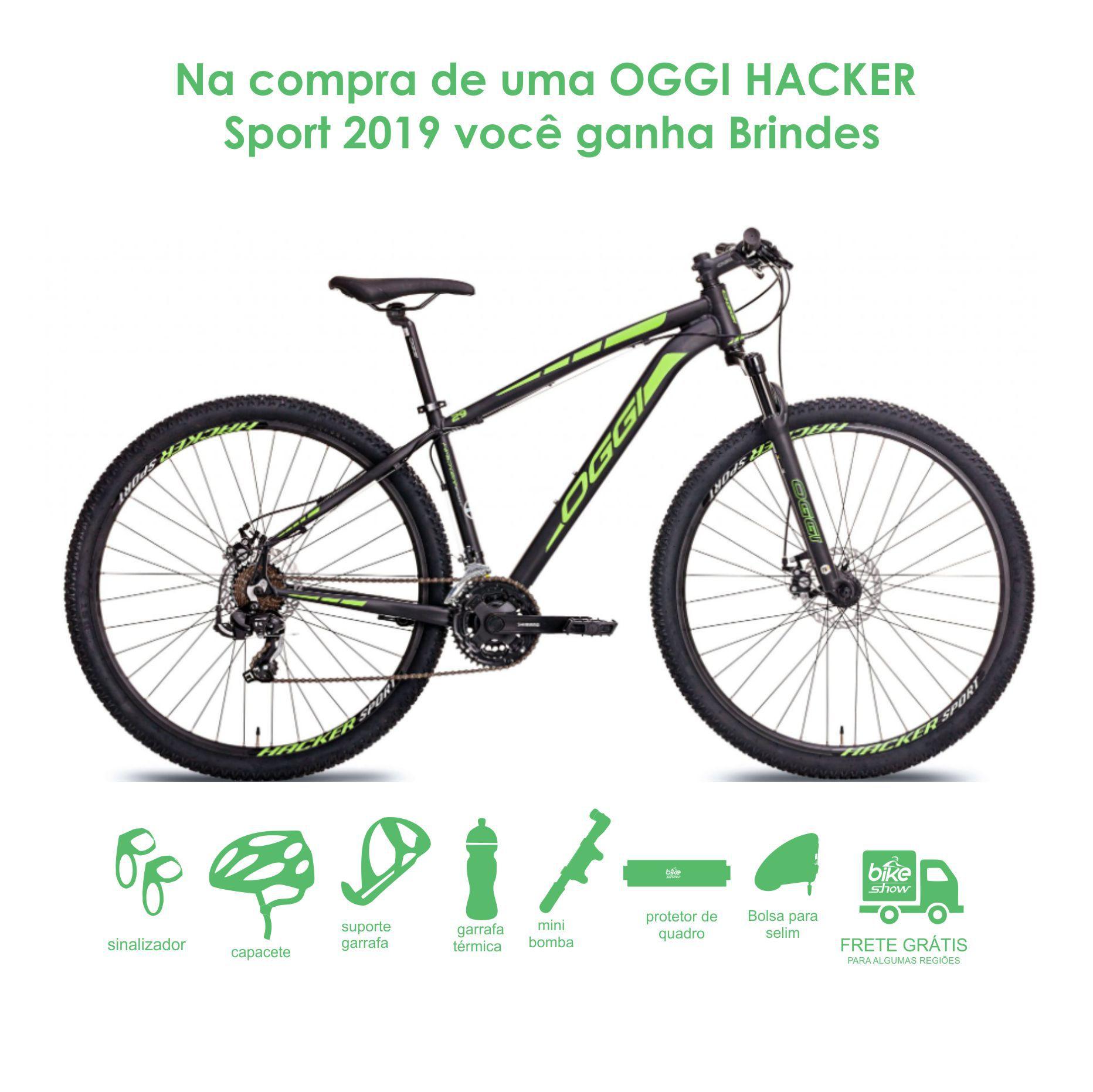 Bicicleta OGGI Hacker Sport 2019 - 21V Shimano - Freio a Disco - Preto/Verde + BRINDES