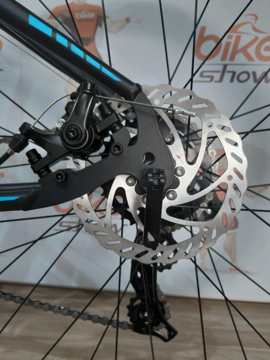 Bicicleta OGGI Hacker Sport 2019 - 21V Shimano - Freio a Disco - Preto/Azul + BRINDES + Camisa BIKE SHOW