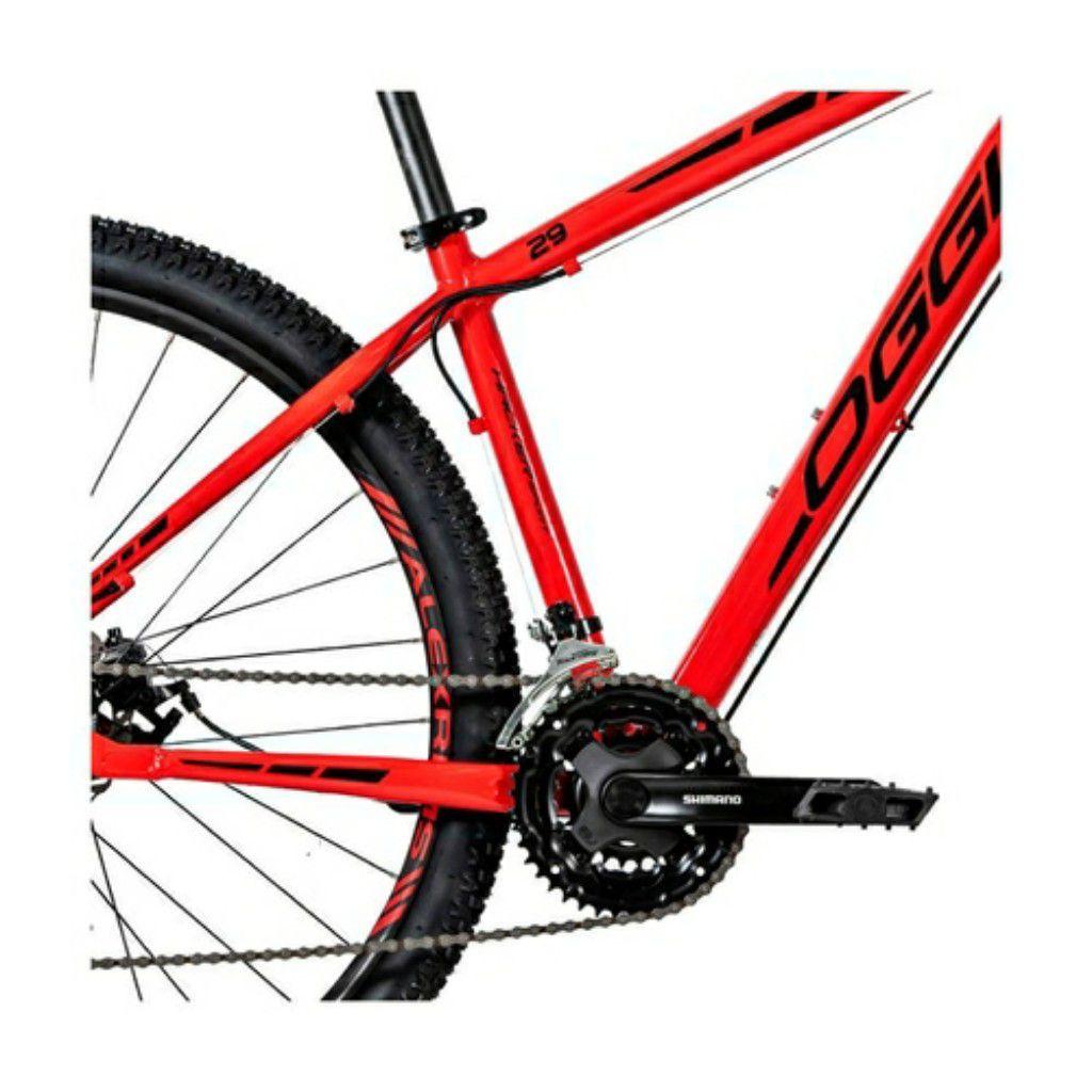 Bicicleta OGGI Hacker Sport - 21V Shimano - Freio a Disco - Vermelho/Preto + BRINDES