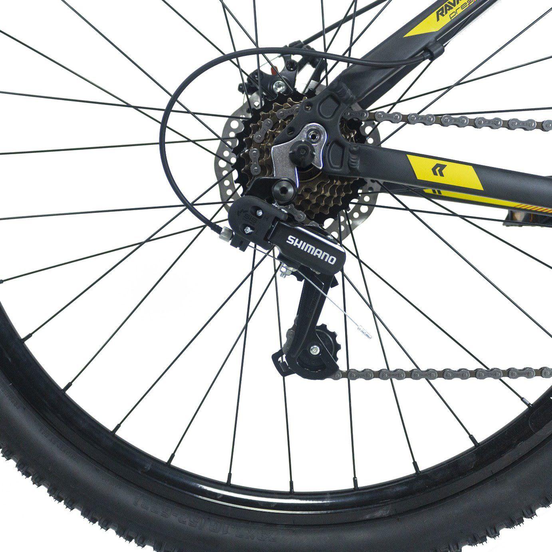 Bicicleta RAVA Pressure aro 29 2020 - 21v Shimano SIS traseiro - Freio a Disco - Preto/Amarelo/Vermelho