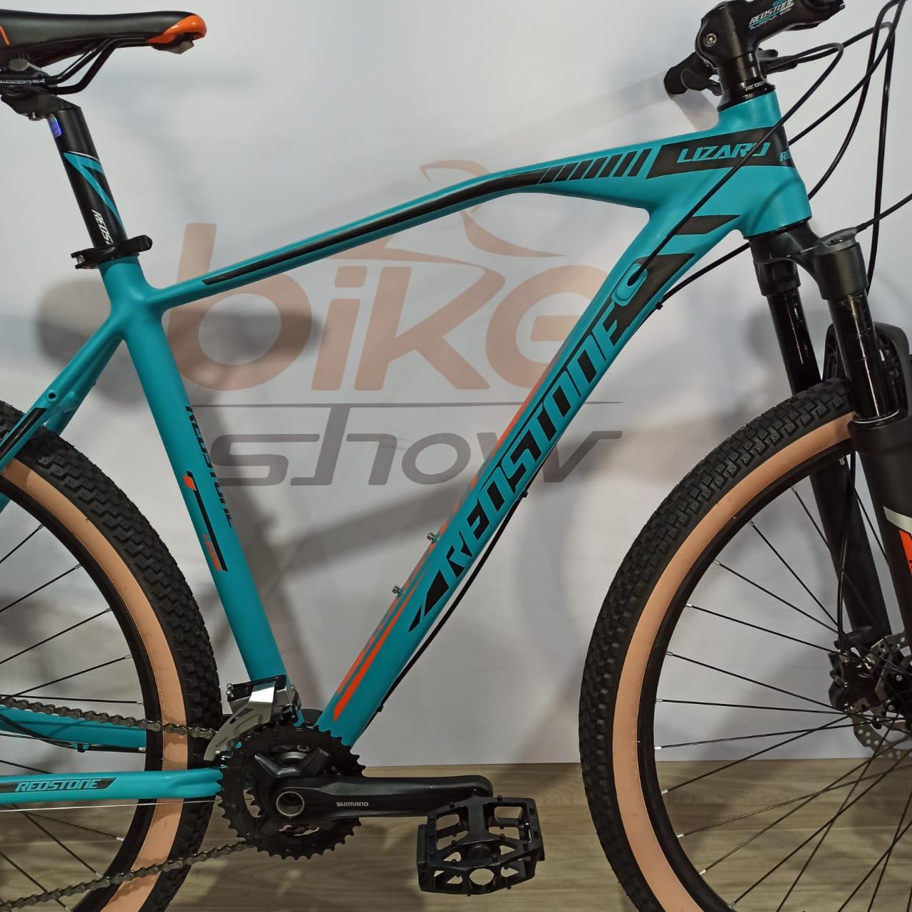 Bicicleta REDSTONE Lizard aro 29 - 18v Shimano Alivio - Freio Hidráulico - Azul/Laranja